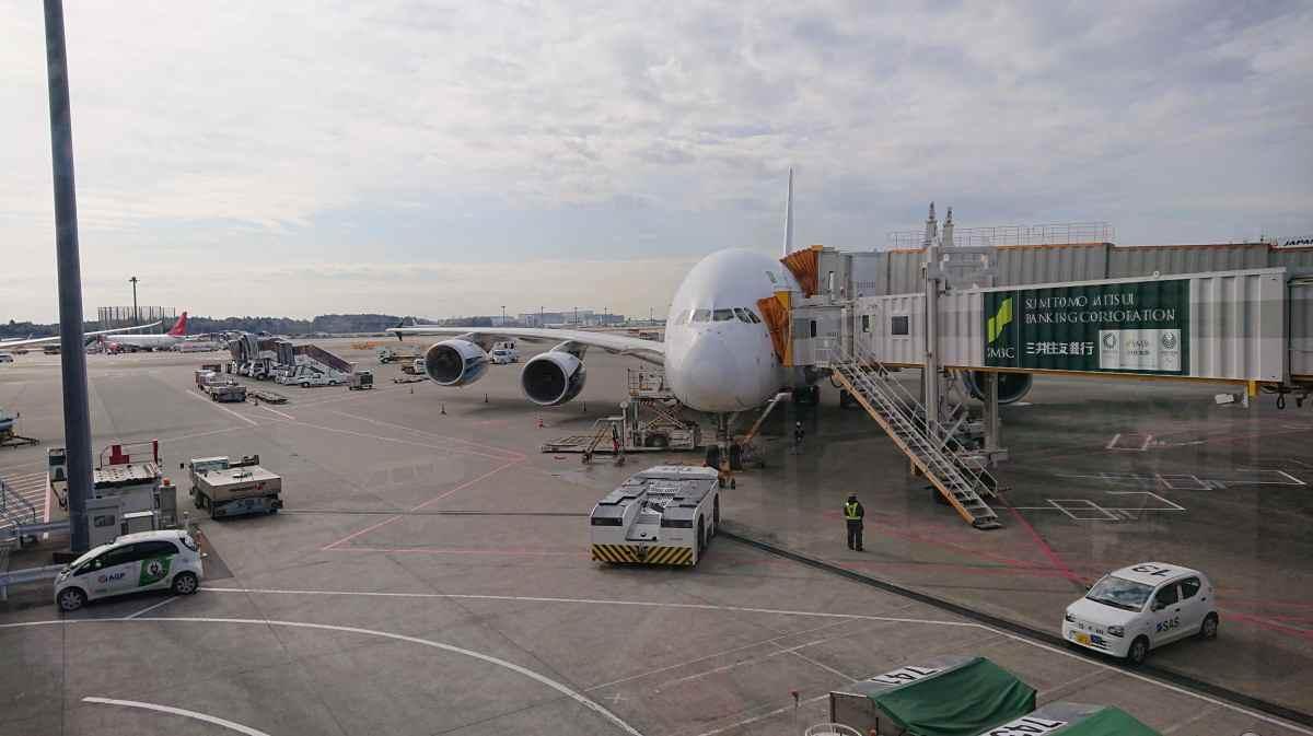 成田空港にいるマレーシア航空のA380