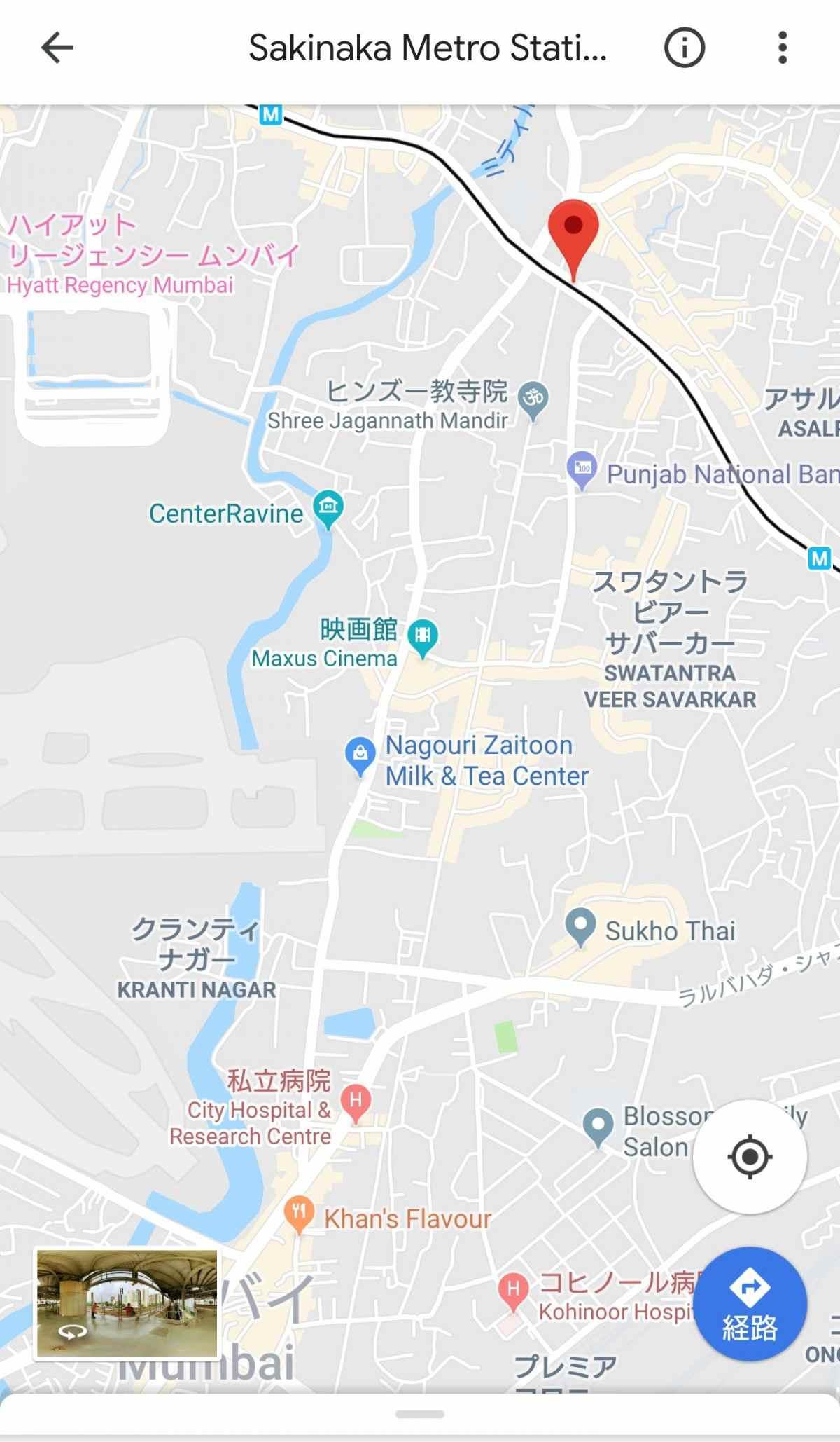 ムンバイ北部からカーンズフレイバーまでの地図